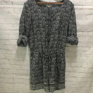 Loft romper long sleeves blue cream paisley size 4